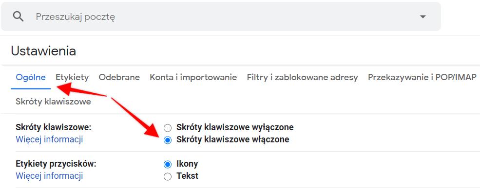 jak włączyć skróty klawiszowe w gmail