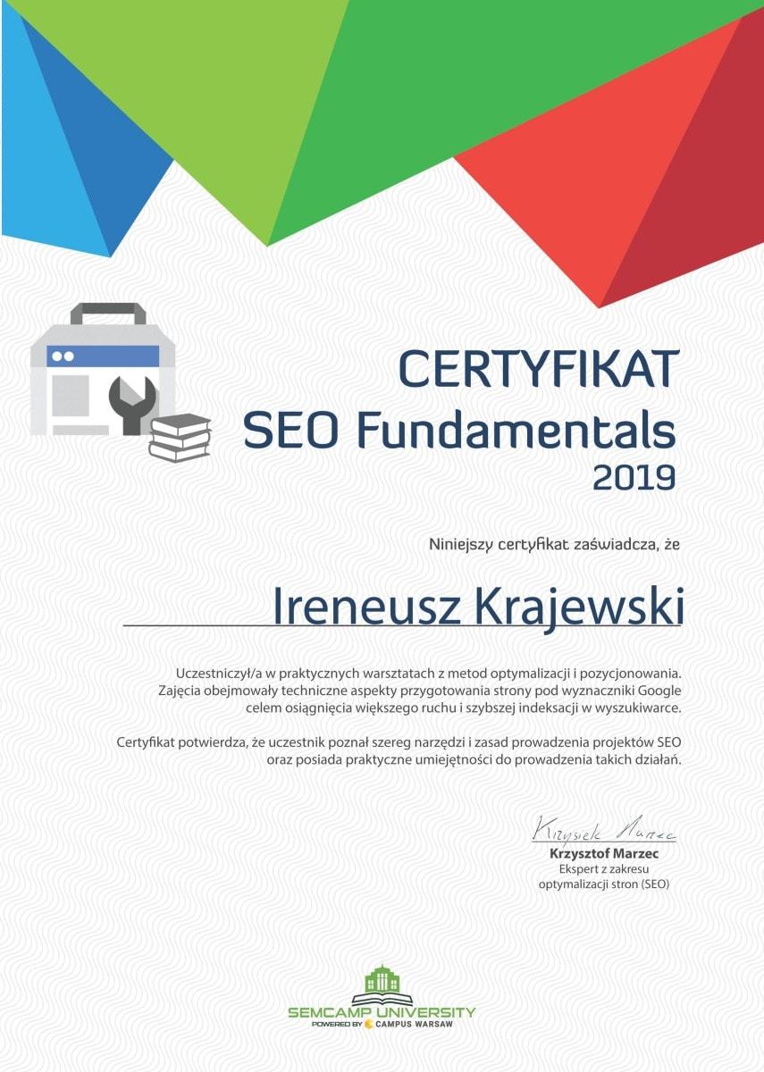 Ireneusz Krajewski - Certyfikat SEO